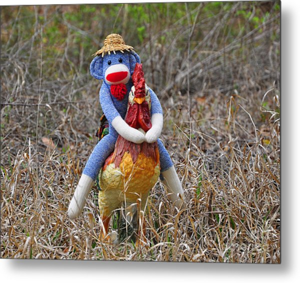 Rooster Rider Metal Print