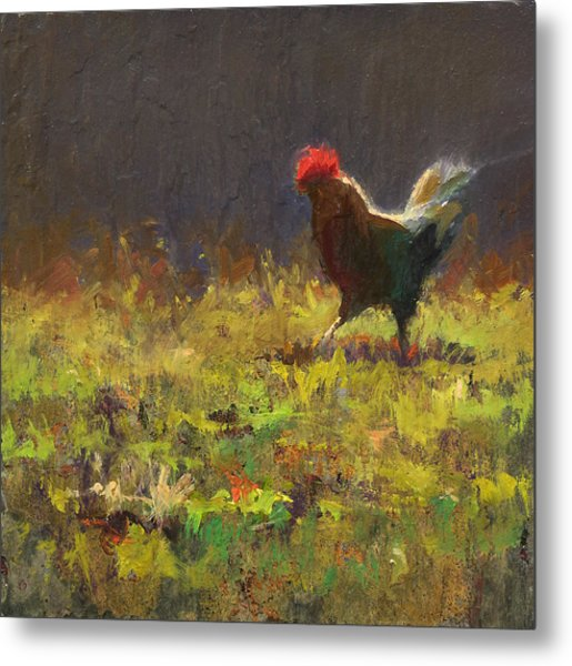 Rooster Strut - Impressionistic Chicken Landscape - Abstract Farm Art - Chicken Art - Farm Decor Metal Print