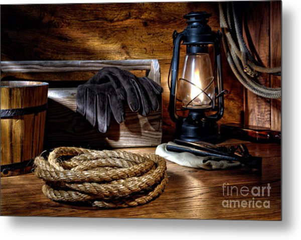 Rope In The Ranch Barn Metal Print