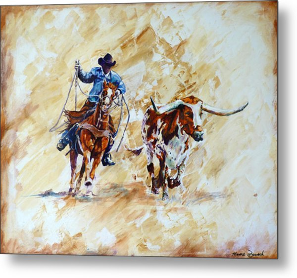 Roping The Doggie Metal Print