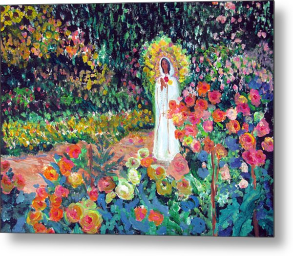 Rosa Mistica In Monet's Garden Metal Print