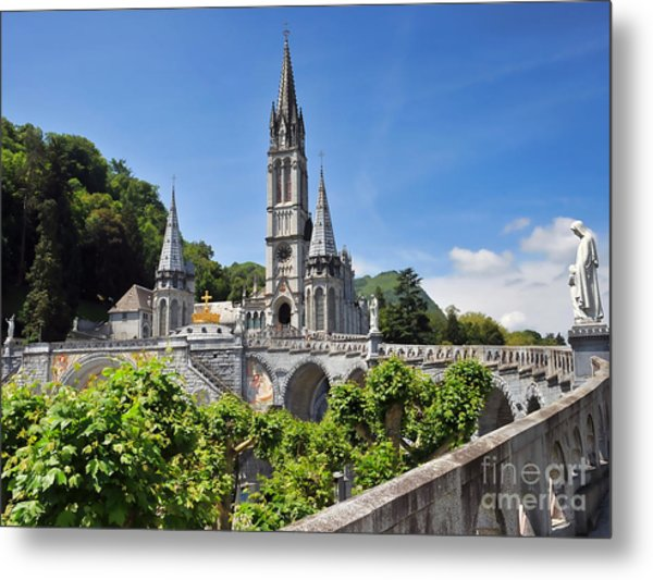 Rosary Basilica In Lourdes France Metal Print by Graham Taylor