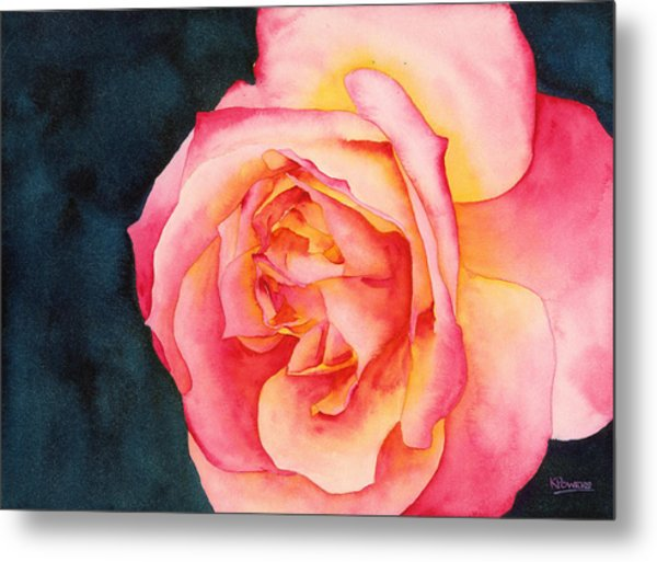 Metal Print featuring the painting Rose Ablaze by Ken Powers