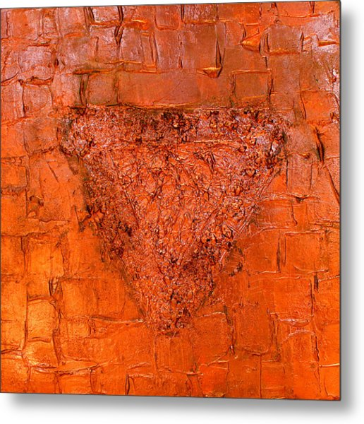 Rose Gold Mixed Media Triptych Part 3 Metal Print
