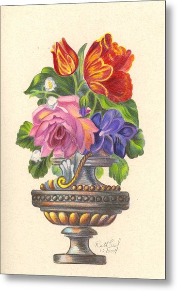 Rose In Antique Vase Metal Print