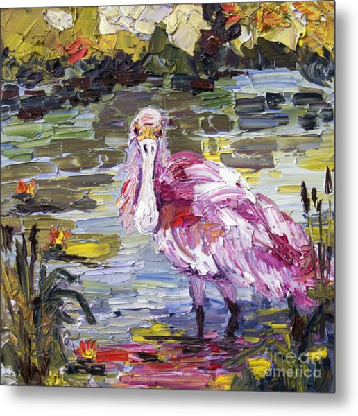 Roseate Spoonbill Florida Birds Oil Painting Metal Print