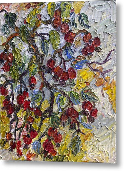 Rosehips Modern Impressionist Oil Painting Metal Print