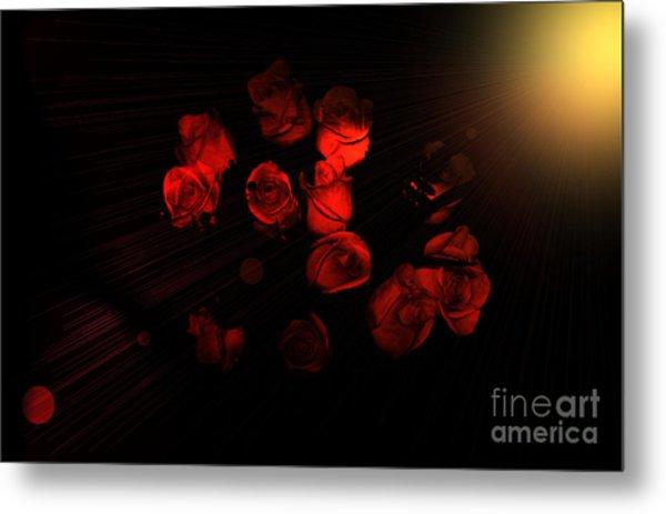 Roses And Black Metal Print