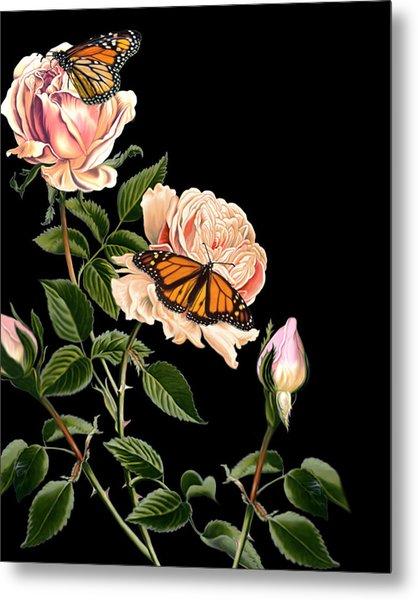 Roses And Butterflies Metal Print