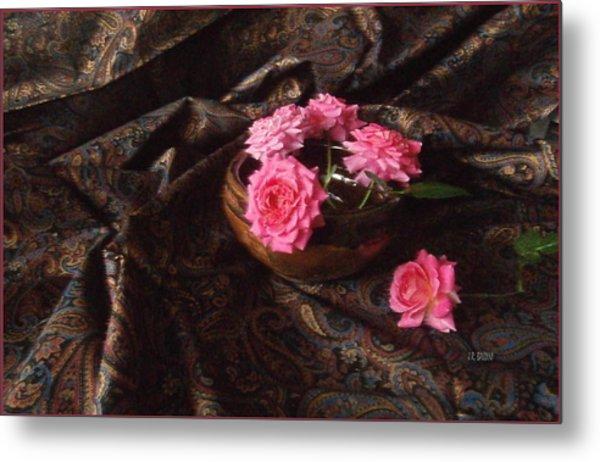 Roses And Paisley Metal Print