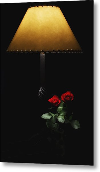Roses By Lamplight Metal Print