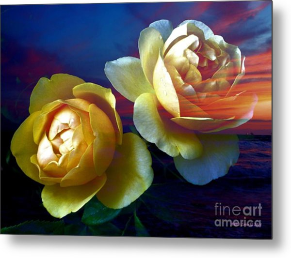 Roses By The Sea Metal Print