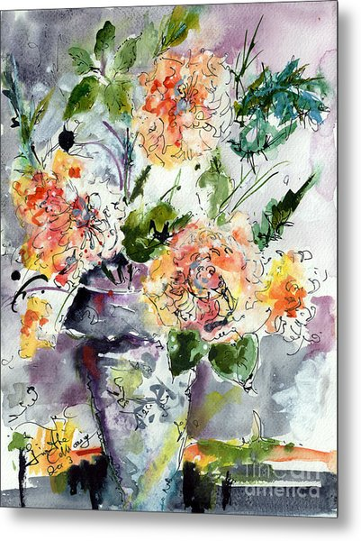 Roses Impressionists Heirloom Watercolor Still Life  Metal Print