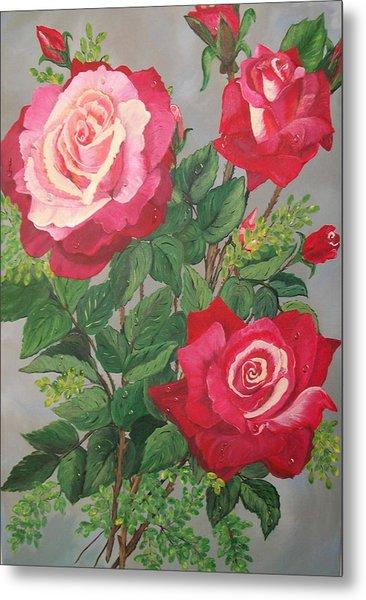 Roses N' Rain Metal Print