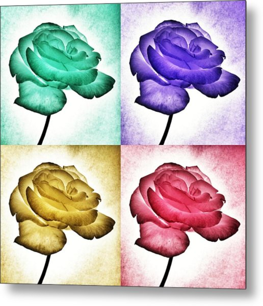 Roses - Pop Art Metal Print