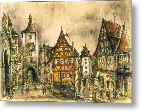 Rothenburg Bavaria Germany - Romantic Watercolor Metal Print