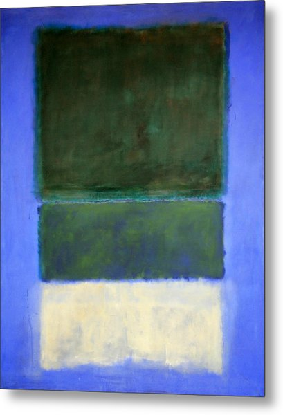 Rothko's No. 14 -- White And Greens In Blue Metal Print