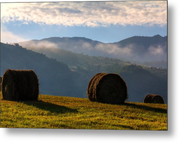 Round Bales And Foggy Hills Metal Print