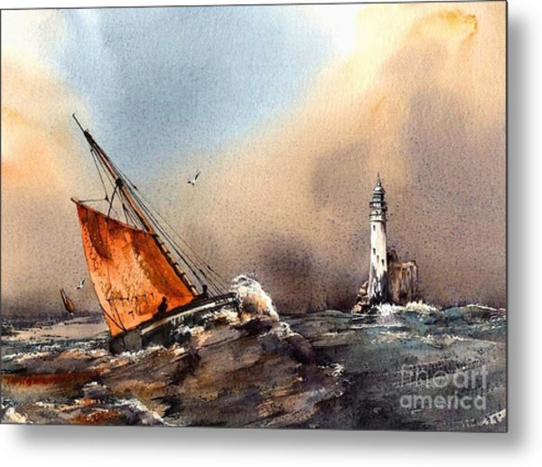Rounding The Fastnet Metal Print