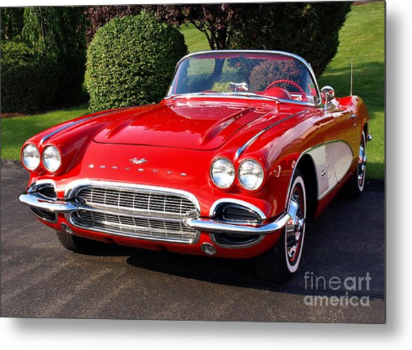 Route 66 - 1961 Corvette Metal Print
