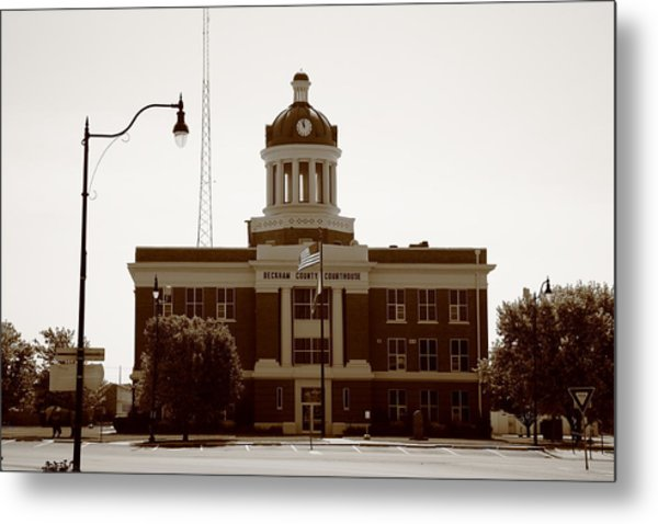 Route 66 - Beckham County Courthouse Metal Print