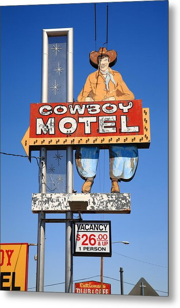 Route 66 - Cowboy Motel Metal Print