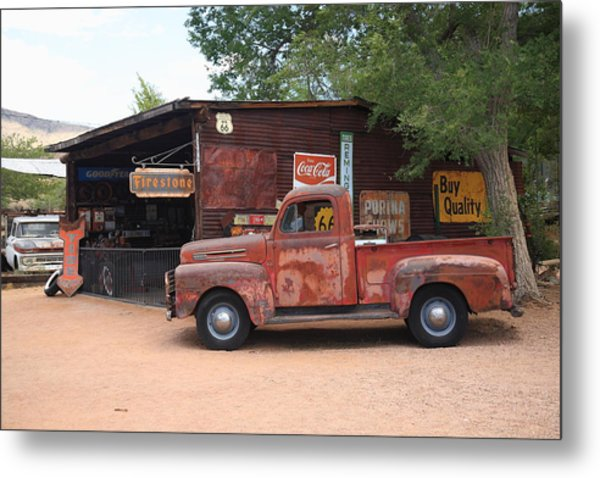Route 66 Garage And Pickup Metal Print