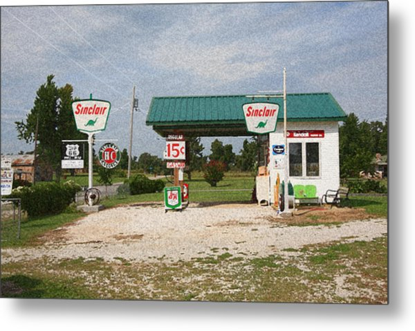 Route 66 Gas Station With Sponge Painting Effect Metal Print