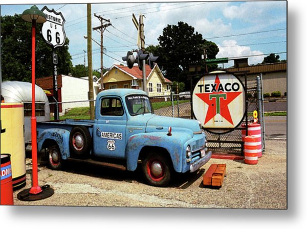 Route 66 - Gas Station With Watercolor Effect Metal Print