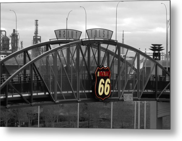 Route 66 Tulsa Sign Bw Splash Metal Print