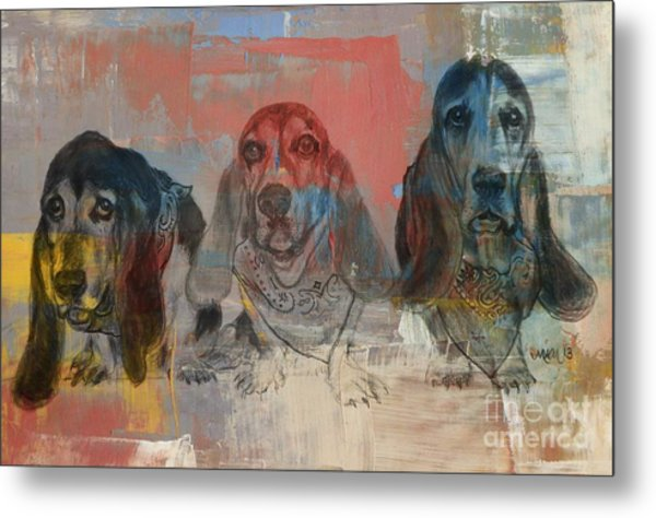 Row Of Basset Hounds Metal Print