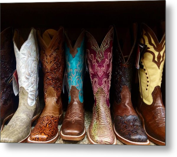 Row Of Cowboy Boots On Shelf Metal Print by Maggie Holguin / Eyeem