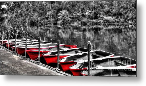 Row Of Red Rowing Boats Metal Print