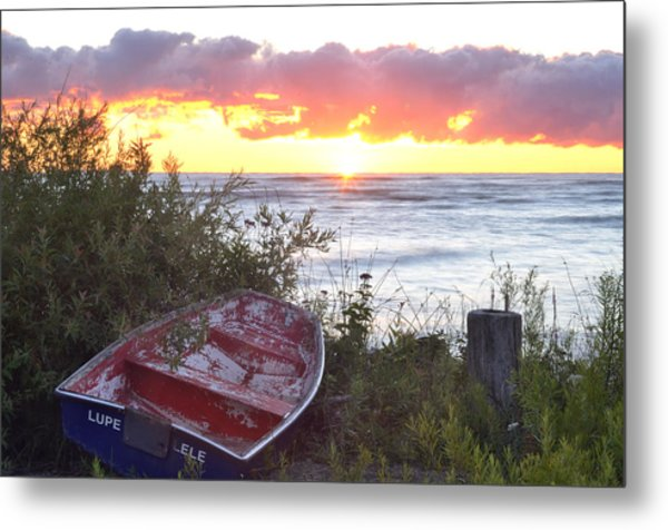Rowboat At Sunrise Metal Print