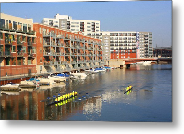 Rowers Milwaukee River 2 Metal Print by Geoff Strehlow