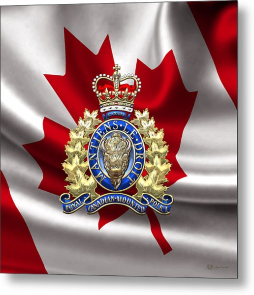 Royal Canadian Mounted Police - Rcmp Badge Over Waving Flag Metal Print