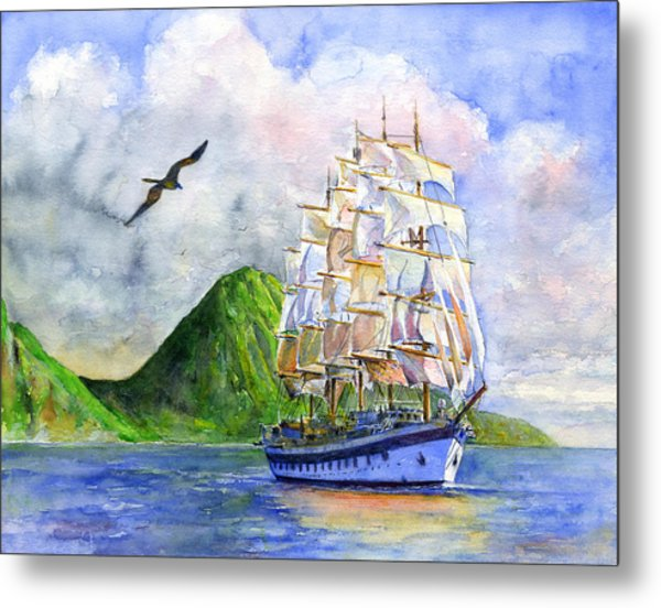 Royal Clipper Leaving St. Lucia Metal Print