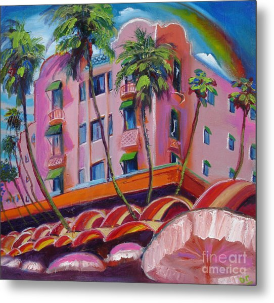 Royal Hawaiian Hotel Metal Print by Donna Chaasadah