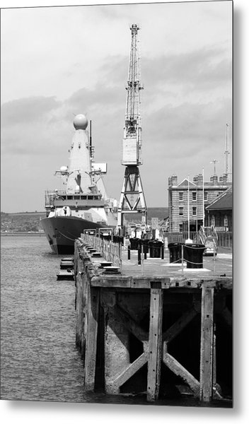 Royal Navy Docks And Hms Defender Metal Print