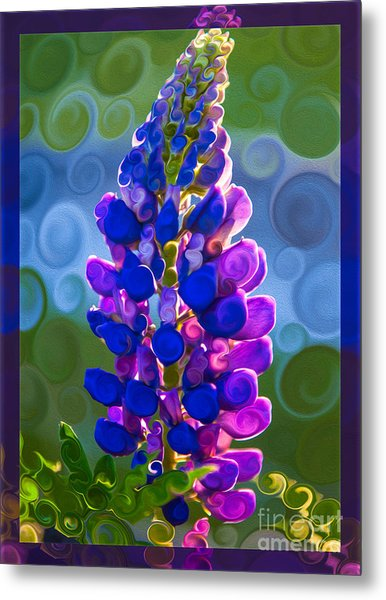Metal Print featuring the painting Royal Purple Lupine Flower Abstract Art by Omaste Witkowski
