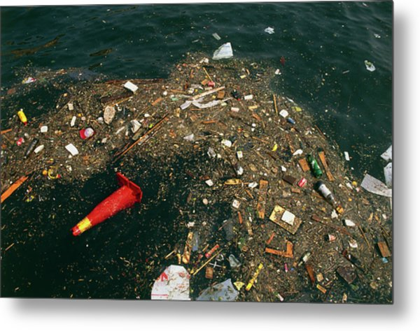 Rubbish Floating On A River Metal Print by Tony Craddock/science Photo Library