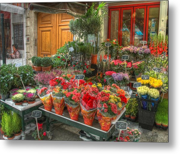 Rue Cler Flower Shop Metal Print