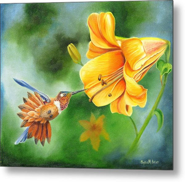 Rufous Hummer And The Lily Metal Print