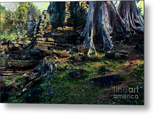 Metal Print featuring the photograph Ruins And Roots by Julian Cook