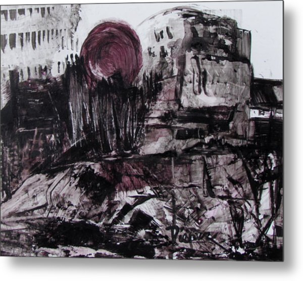 Ruins In Shades Of Gray  Metal Print