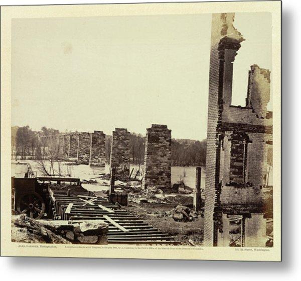 Ruins Of A Railroad Bridge Metal Print