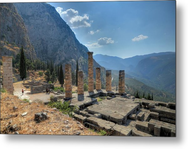 Ruins Of Apollos Temple And The Valley Of Phocis Metal Print