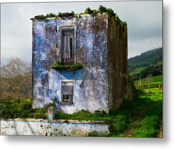 Ruins Of House Painted Blue Metal Print