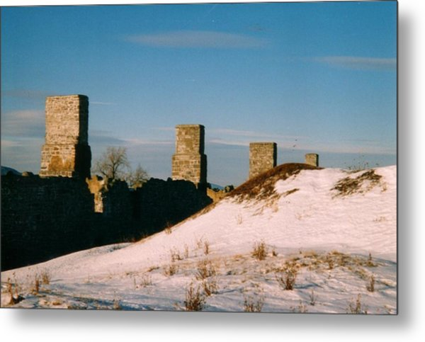Ruins With Snow And Blue Sky Metal Print by David Fiske