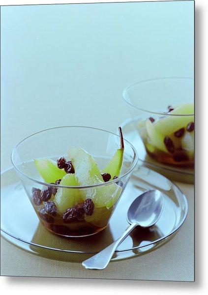 Rum Raisin Poached Pears Metal Print